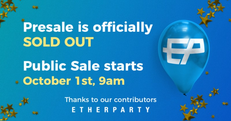 Etherparty public sale starts Oct 1