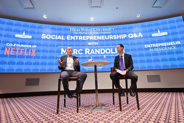 Marc Randolph, Co-Founder of Netflix and High Point University's Entrepreneur in Residence, participated in an interactive Q&A session with students on social entrepreneurship, moderated by Dr. Joe Blosser, Robert G. Culp director of Service Learning.