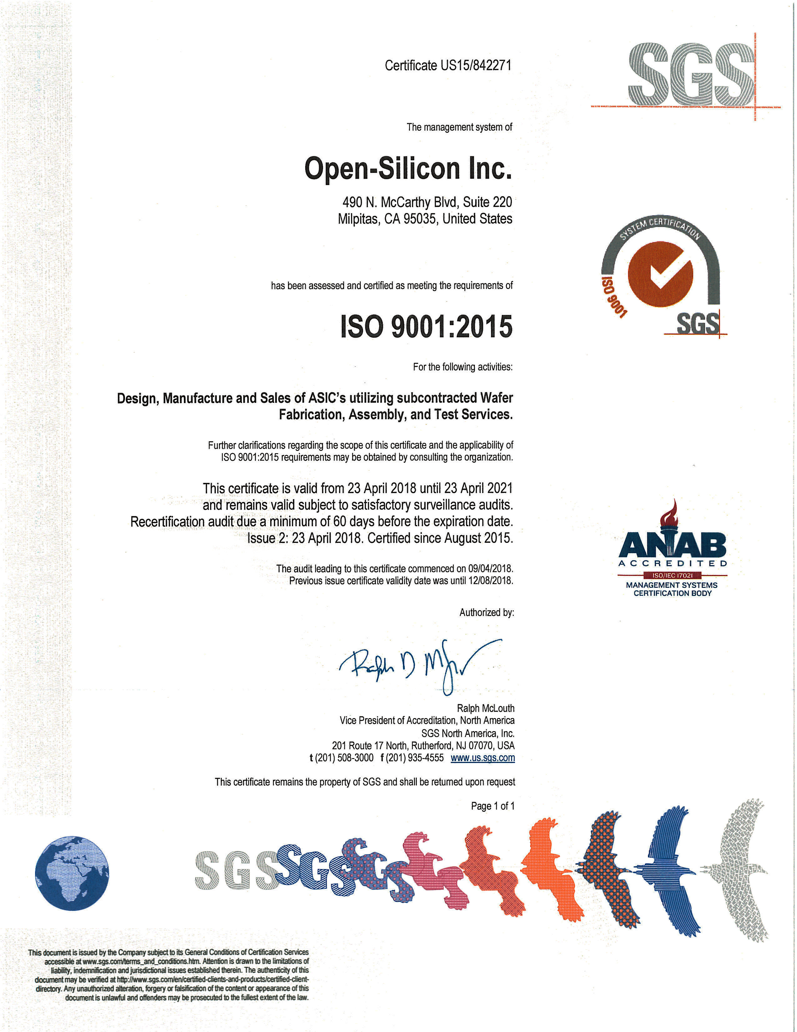 Open-Silicon Achieves ISO 9001:2015 Certification