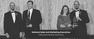 Jim Laber presents Jay Mellon with award | Jay presents Christy Page of the Akron BBB with award