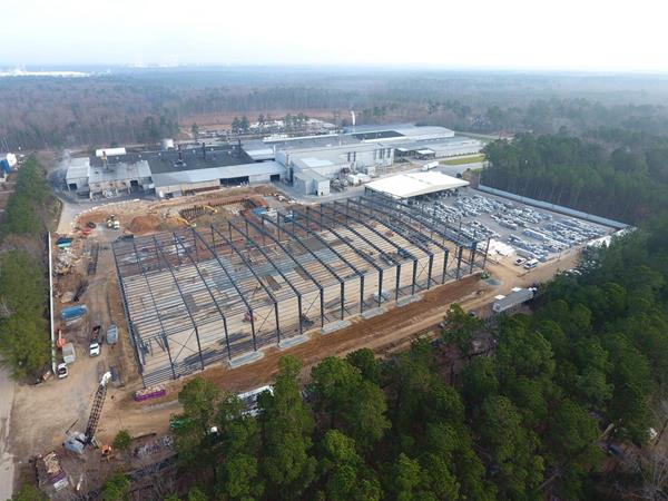 Construction of the new 220,000 square foot building - the size of nearly four football fields - is underway at JW Aluminum's Goose Creek, South Carolina facility.