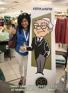 CEO Tawny Lam With a Stand-in for Warren Buffett