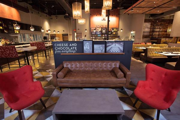 Entrance and lounge area at the new Melting Pot in El Paso, Texas