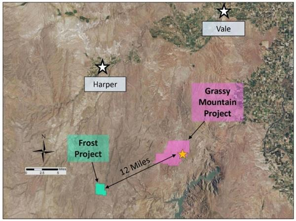 Frost Project location map relative to the Company's flagship Grassy Mountain asset