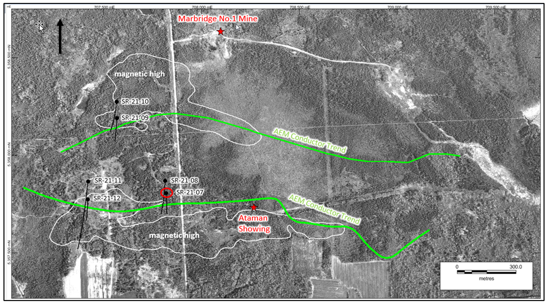 Collar locations of the six diamond holes drilled at Somanike in 2021. Hole SR-21-07 intersected massive nickel sulphides in a strong conductor along the airborne electromagnetics (AEM) trend (green) on strike to the west from the historical Ataman nickel sulphide showing.