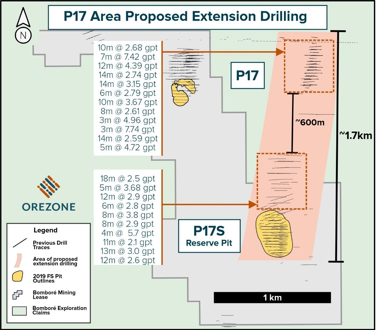 Bombor¨¦ Gold Project: P17 - Plan View of Prospective Exploration Potential
