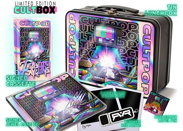 The limited edition box collectors set of Robots With Rayguns new release CULTPOP. Called CULTBOX, it includes a signed cassette, a signed CD, a leather USB drive, two one-of-a-kind artist produced Polaroids, and a holograph lapel pin, all in a retro tin lunch box. Available only at cultpop.net.