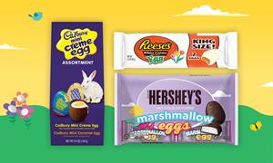 HERSHEY'S Milk Chocolate Covered Marshmallow Egg, REESE'S White Peanut Butter Eggs King Size, CADBURY Mini Crème Egg Assortment