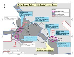Figure 3. Plan View of Taylor Deeps with High Grade Copper Zones