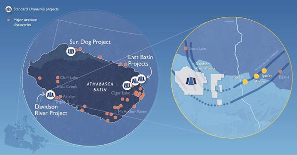 Standard Uranium's projects in the Athabasca Basin