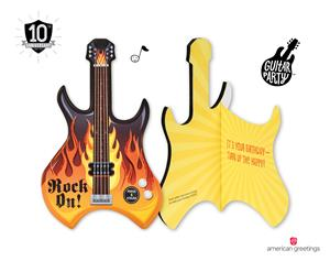 Strum up some birthday fun with guitar party cards from american strum up some birthday fun with guitar party cards the newest invention from american greetings is a great way to amplify the wishes and turn the big day m4hsunfo