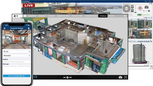 EarthCam's VR Dollhouse view, created by merging 360° photo content with Navisworks or Revit models.