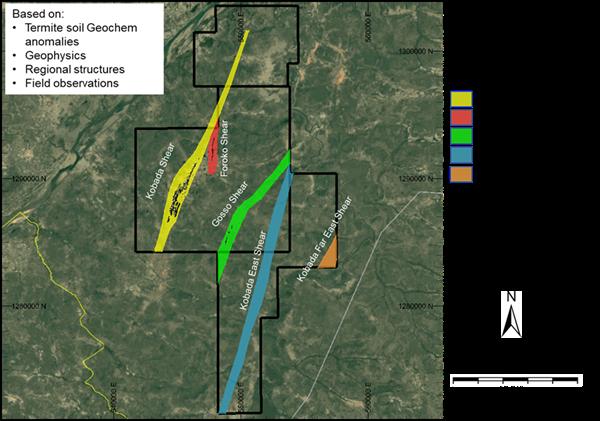 Figure 1: Identified Shear Zones Across the Property