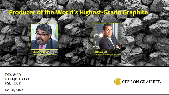 Ceylon Graphite Announces Participation in O&M Town Hall Webinar Thursday, January 21st, 2021 and Upcoming Investor Conference Schedules