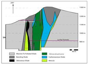 Cross section of the mineralized zone at Coscuez