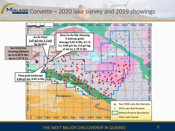 Bloc de Corvette - Indices 2019 et levé de sédiments de lacs 2020