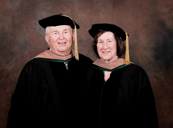 """Mary Ellen graduated from nursing school in Boston and returned to Bangor to work at the """"old"""" St. Joseph Hospital. Ed transferred to Husson College to obtain an education that would support a family. While in school, he balanced a full course load while working 40 hours a week at his dad's automobile business. Ed graduated from Husson in 1964 and two years later started Downeast Toyota in Brewer. In 2005, Ed was invited to be a member of the Husson University Board of Trustees. As their business success evolved, the Darlings have """"given back"""" to Husson because they believe in the University's mission."""