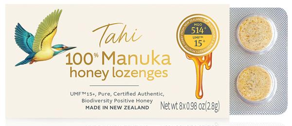 Tahi Manuka lozenges, which has a delicious soothing with a sweet yet slightly tangy taste. Tahi Manuka honey lozenges are 100 percent UMF™ 15+ Manuka honey with no added water, sugar, or anything artificial. Tahi lozenges are the only ones made from 100 percent honey and UMG 15+.
