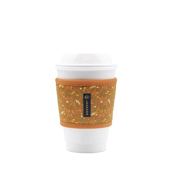 HotSok™ sleeves for hot coffee protect your hands from extreme heat and fit most disposable coffee cups better than single-use cardboard sleeves that tend to slide off easily.  Pictured: HotSok™ Coral Floral.