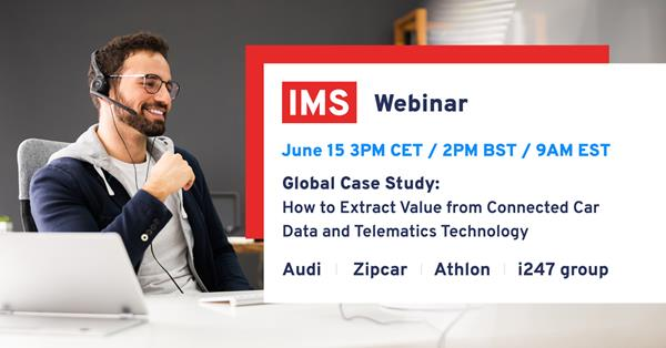 Moderated by Leon Hurst, CEO Mobility for IMS, this webinar will include IMS customers James Taylor, General Manager for Zipcar, Thomas Bayerl, Digital Business Development for Audi Germany, Stephen Thornton, Commercial Director for i247, and Martin Philips, Chief Operating Officer for Athlon, as well as Matthew Waller, Director of Mobility Solutions for IMS.