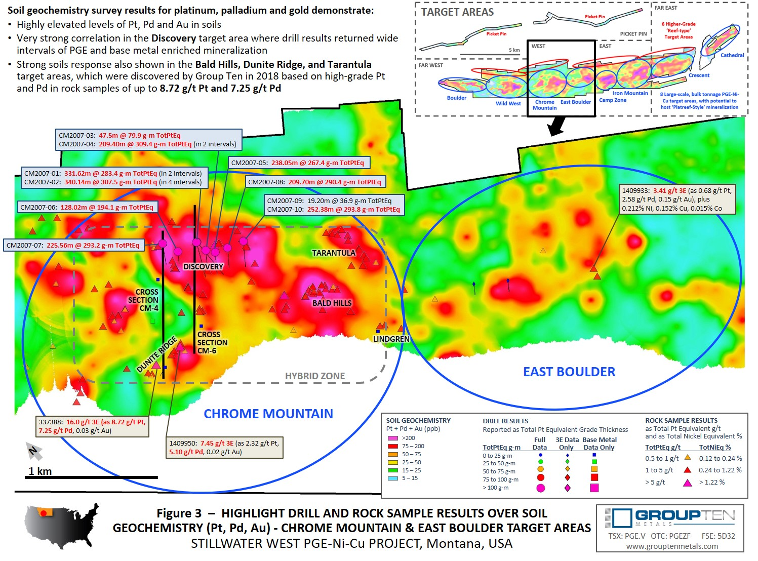 Figure 3  –  Highlight Drill and Rock Sample Results Over Soil Geochemistry (Pt, Pd, Au) - Chrome Mountain & East Boulder Target Areas