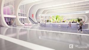 Inside the Virgin Hyperloop portal. Design by Bjarke Ingels Group and animation by SeeThree.