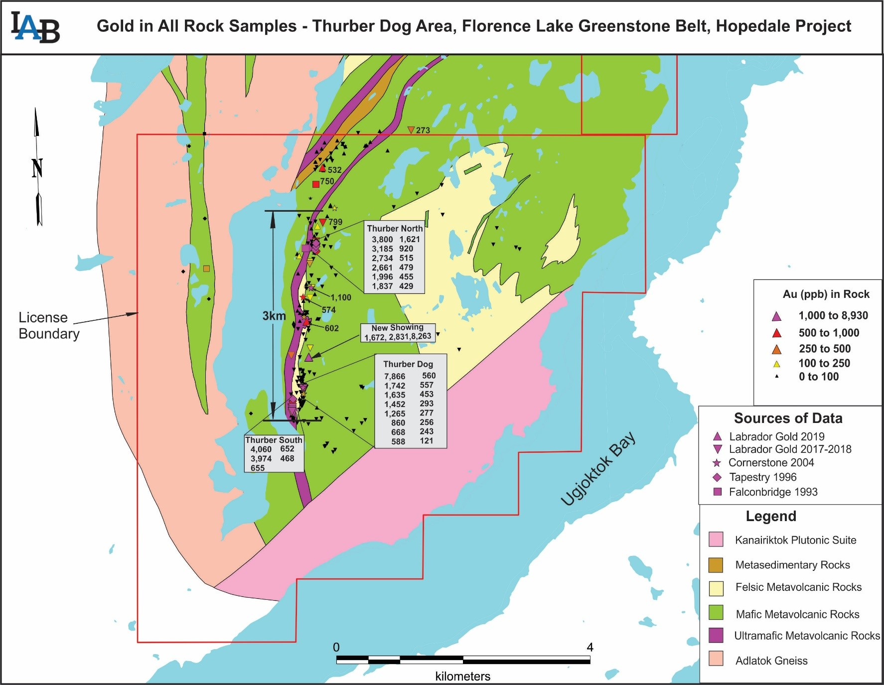 Figure 1: Compilation of all Labrador Gold and historical rock samples in the Thurber Dog area indicating the location of the new showing.