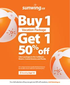 Sunwing Launches Buy One Get Half Price Promotion On Select