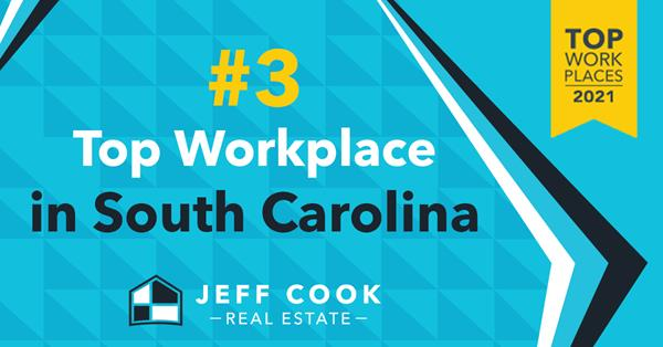 Jeff Cook Real Estate is proud to announce a #3 ranking as one of the Top Workplaces in the state of South Carolina.