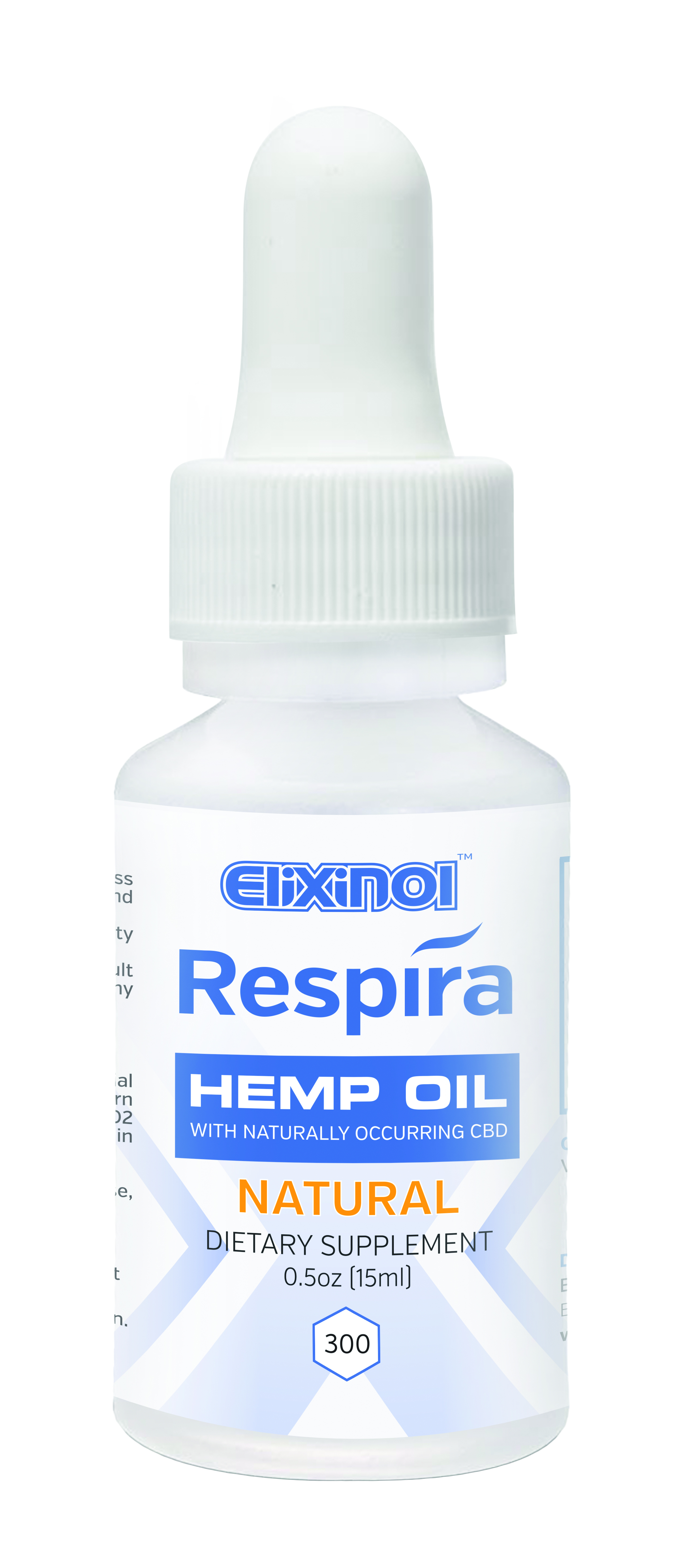 Respira CBD oil for oral, topical or vape use by Elixinol. 300mg, Natural Flavor