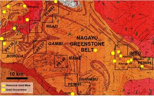 Figure 1. Licences in the Ngayu greenstone belt
