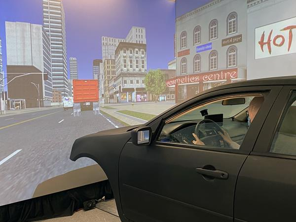 LSU Civil Engineering Assistant Professor Hany Hassan conducts research in the college's driving simulator as part of his study into senior citizens' driving behavior in various traffic and environmental conditions.