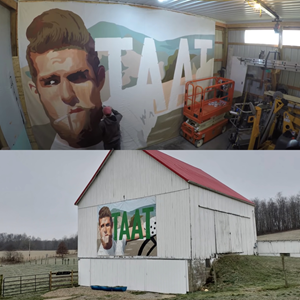 In January 2021, the first TAAT™ mural was hand-painted and mounted on the exterior of an agricultural outbuilding in a rural area of Ohio. A timelapse video showing the creation of the mural can be accessed by clicking here.