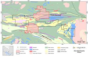 Dore Gold Project: Property Outline and Geology Map