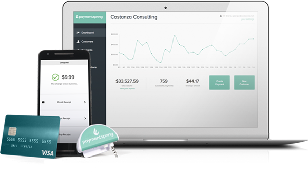 The PaymentSpring payment solutions allow businesses accept multiforms of payments.