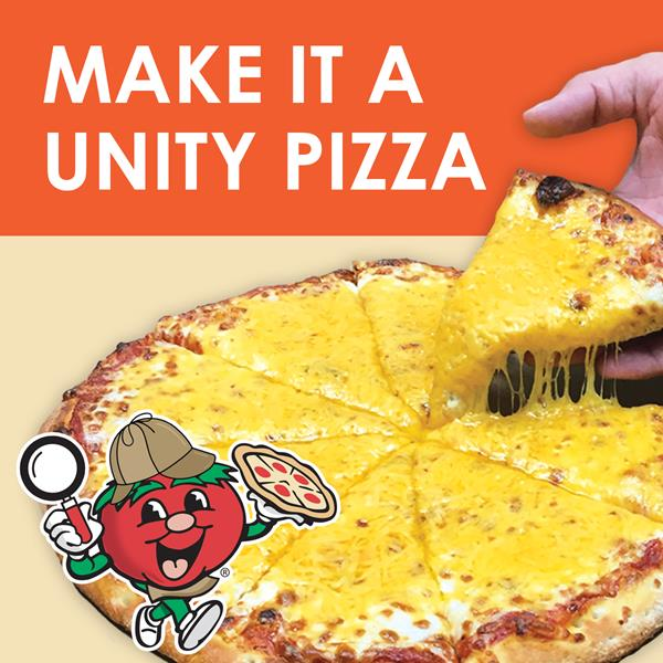"""Unity Pizza – Snappy Tomato Pizza In support of National Bullying Prevention Month and celebrating National Pizza Month, donations of a $1 change any round medium or large Snappy Tomato Pizza into a Unity Pizza.  We added cheddar cheese to represent the color of Unity Day and each $1 was donated to PACER's National Bullying Prevention Center. """"Add Cheddar and Make It Better"""" Total raised $5,818. Visit SnappyTomato.com/UnityPizza for more information.  #SnappyTomato"""
