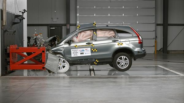 Action shot taken during the 40-mph moderate overlap frontal crash test. There was minimal intrusion into the driver's space in this test.