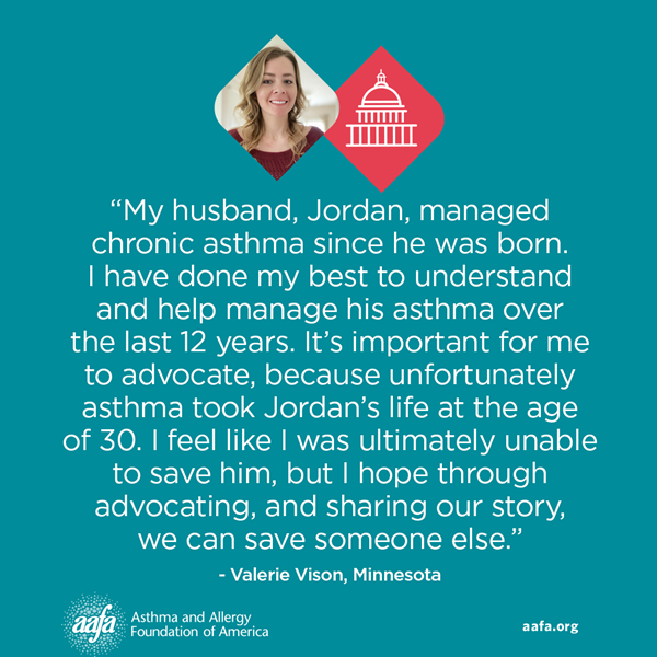 """On racial disparities in asthma, AAFA advocate Valerie Vison of Minnesota shared in meetings with staffers from her two Senate offices, """"These statistics are and should be startling."""" Valerie's husband, Jordan Vison, died from asthma in July of 2020 at age 30. Learning he had a greater chance of death as a Black American, Valerie honors his life by joining other advocates in raising awareness."""