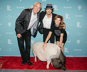 Humanitarian award recipient Ian Somerhalder joins Napa celebrity Mr. Moo and Monica and David Stevens, co-founders of Jameson Animal Rescue Ranch. Ian's wife Nikki Reed was also recognized.