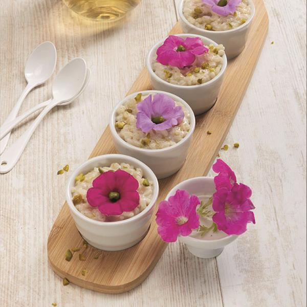 Petunias grown in the Véritable® Garden add color and beauty to this French Rice Pudding. So easy and so stunning.