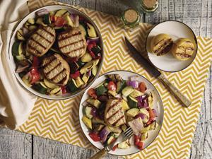 Grilled Fresh Pork and Veggies with Lemon