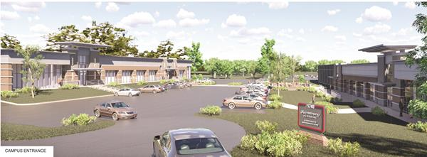 Rendering of campus entrance to Armstrong Flooring, Inc.'s new corporate headquarters at Greenfield, Lancaster, Pa., a project of High Real Estate Group LLC.