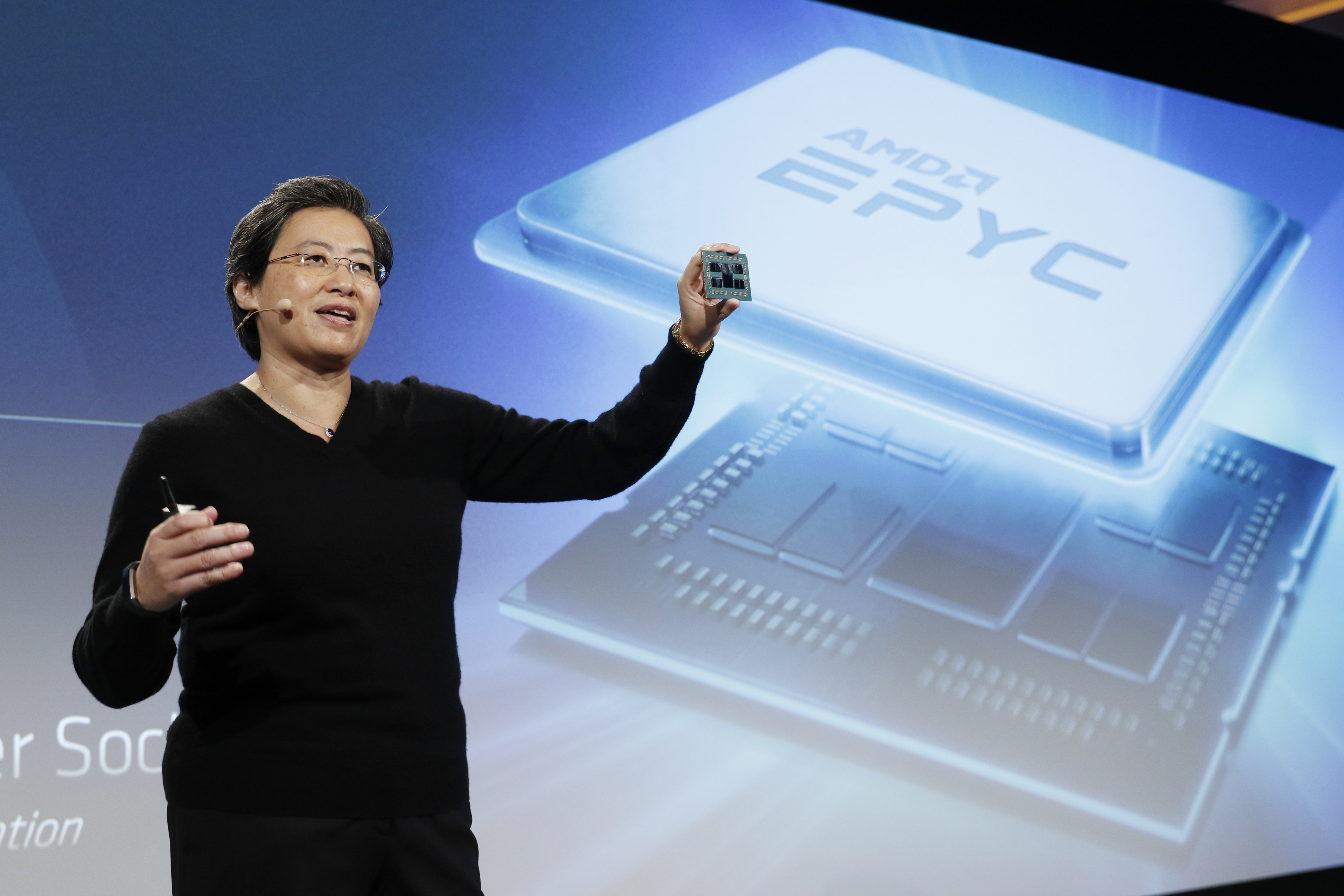 AMD President and CEO Dr. Lisa Su reveals the company's next-generation EPYC™ server processor at the AMD Next Horizon event in San Francisco on November 6, 2018