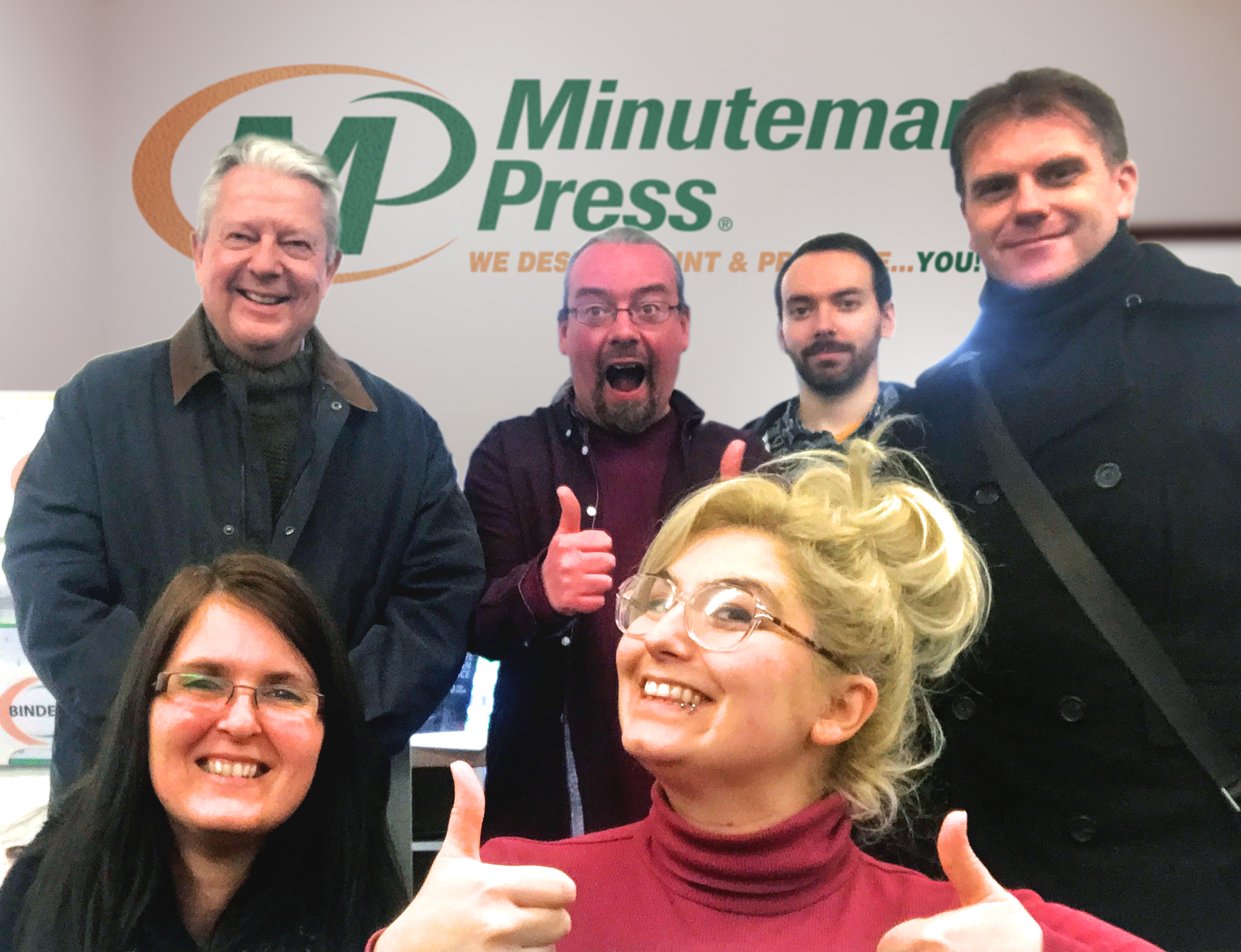 Meet the Minuteman Press franchise team, Norwich, England - L-R: Anne, Philip, Sean, Morwenna, Danny, and Daniel.