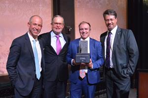 Taken by Emily Scott:  Porter Schutt, Chairman of the Board of Directors, Bill LaFond of presenting sponsor Wilmington Trust, Chad Pregracke of Living Lands & Water and award recipient, and Dr. Dave Arscott of Stroud Water Research Center