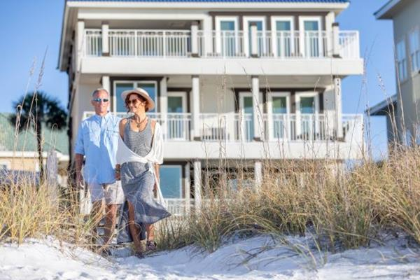 Couple celebrates their love by taking a beach vacation in Destin, Florida for Valentine's Day.