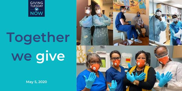 #GivingTuesdayNow collage of health care workers at NAFC Member Free and Charitable Clinics in the U.S. - Family Health Partnership Clinic, Crystal Lake, IL; Symba Center, Apple Valley, CA; Caridad Center, Boynton Beach, FL; Ubi Caritas, Beaumont, TX