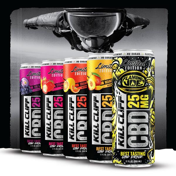 Kill Cliff cans of CBD beverages