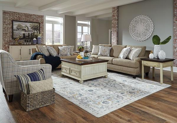 Markham collection shown with sofa, loveseat, and accent chair.
