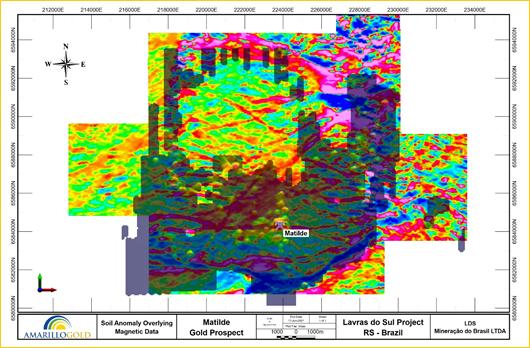 FIGURE 3: MATILDE SOIL ANOMALY OVERLYING MAGNETIC DATA